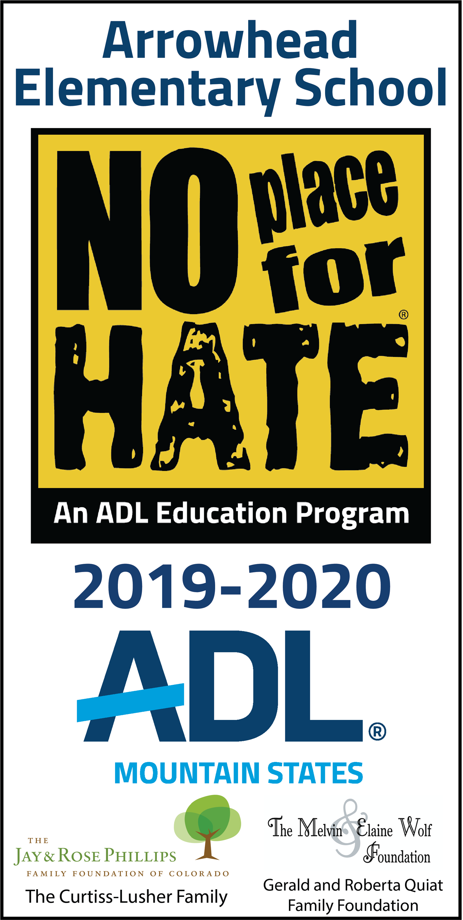 AntiDefamation League No Place for Hate banner