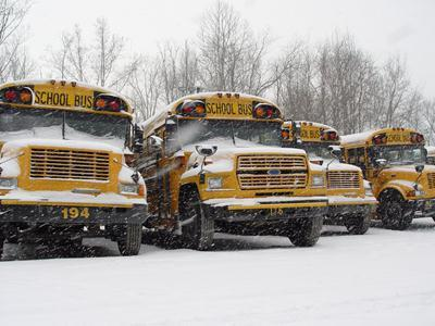 Buses in snow.