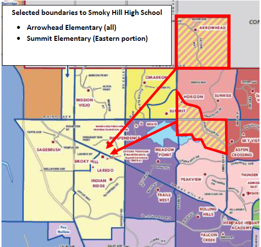 Smoky Hill High School Boundary Changes. Includes all of Arrowhead Elementary and the eastern portion of Summit Elementary