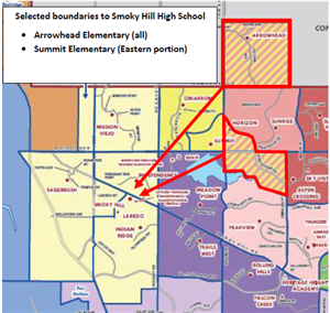 Selected boundaries to Smoky Hill High School
