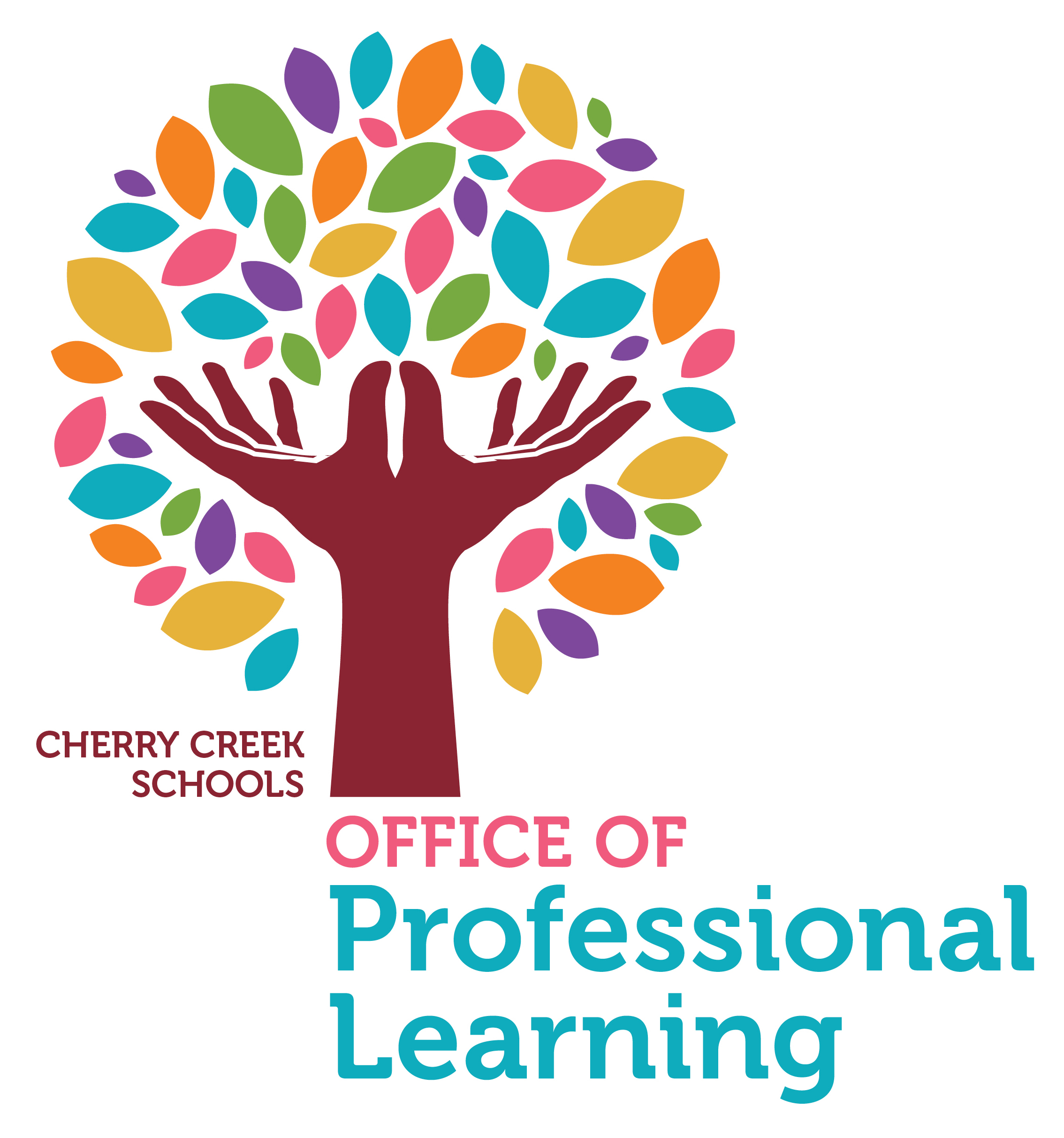 Hands opens with leaves around them. This creates a tree with the words below that say Office of Professional Learning