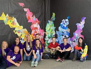 Students participating in art installation at Grandview High School