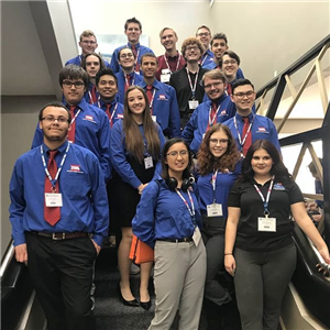 CTHS TSA Students on the stairs at a competition