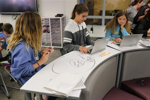 A group of girls use dry erase desks to help collaborate on a project.