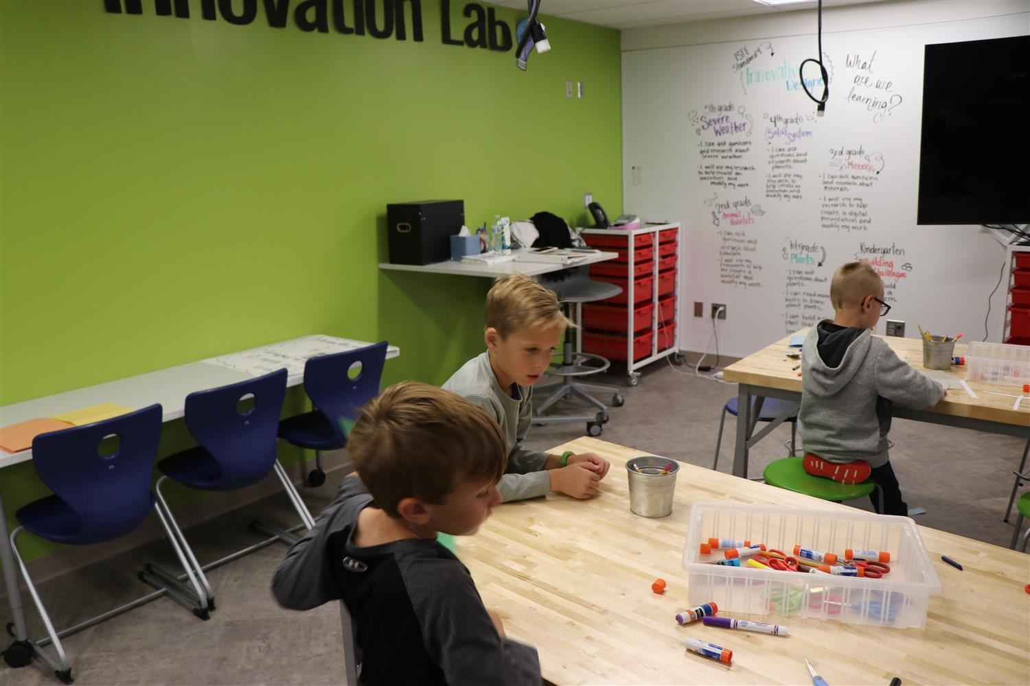 Two students collaborate in new maker space.