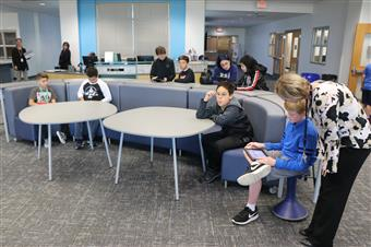 Students work in new innovation space.