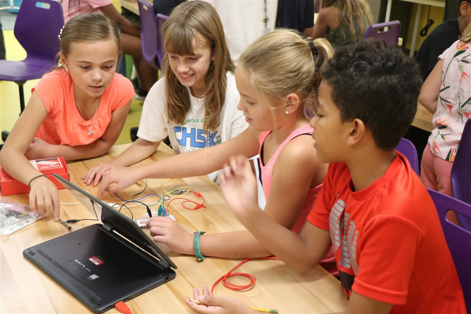 Group of students working on Makey Makey