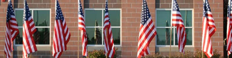 American flags lining sidewalk in front of school building