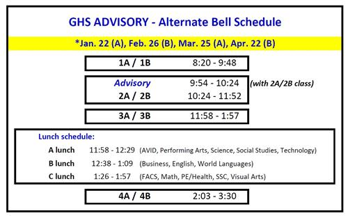 2nd Semester Advisory Schedule