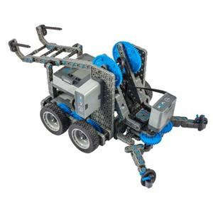 A blue and greay VEX robot vehicle