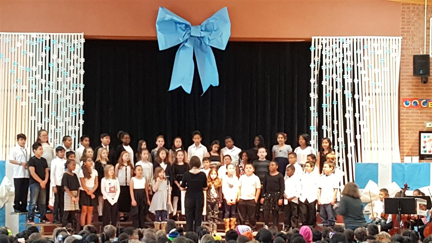 Choir students performing at a school concert