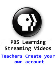 PBS Learning Streaming Videos.  Create account with Google credentials.