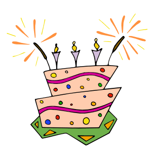 Clip art birthday cake with sparkle candles
