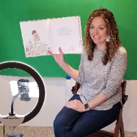 Kari Karr, second-grade teacher at Aspen Crossing Elementary, films read-alouds for students