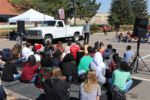 Actors from the Denver Center for the Performing Arts' education department perform at Smoky Hill High School Sept. 9.