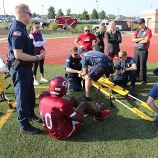 First responders and student athletes during training.
