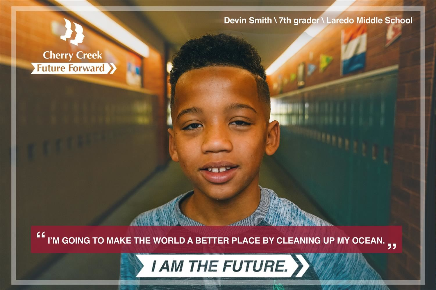 photo of Devin Smith, 7th grader at Lardeo Middle School
