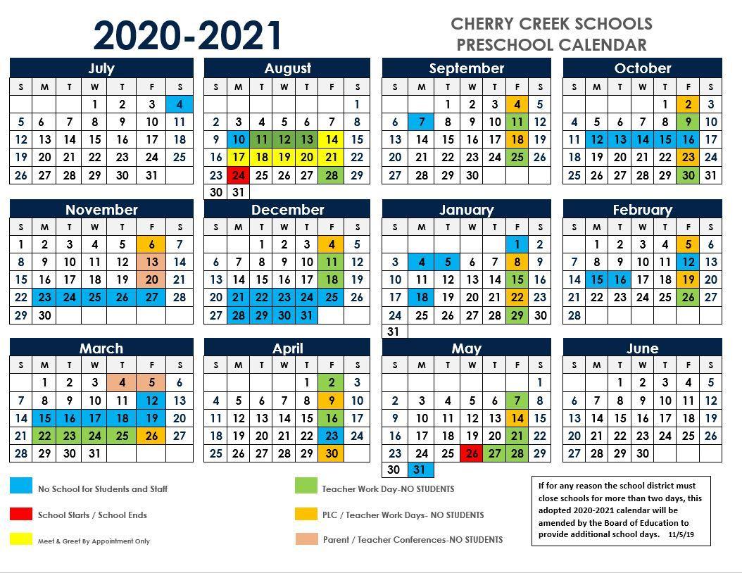 Cherry Creek School Calendar 2021-22 Preschool / 2020 2021 ECE School Calendar