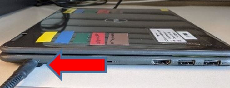 image showing power supply port on laptop