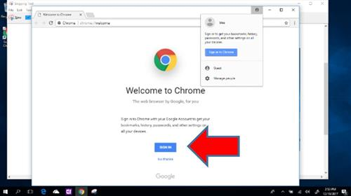 sign in to google chrome menu