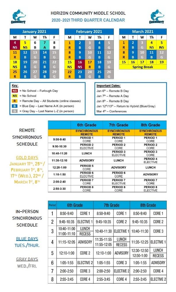Poster with 3rd Quarter Calendars and Bell Schedules