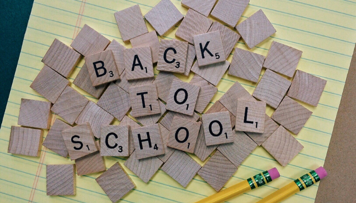 Scrabble tiles that say Back to School