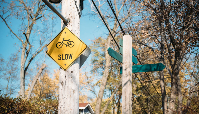 Traffic sign that says slow