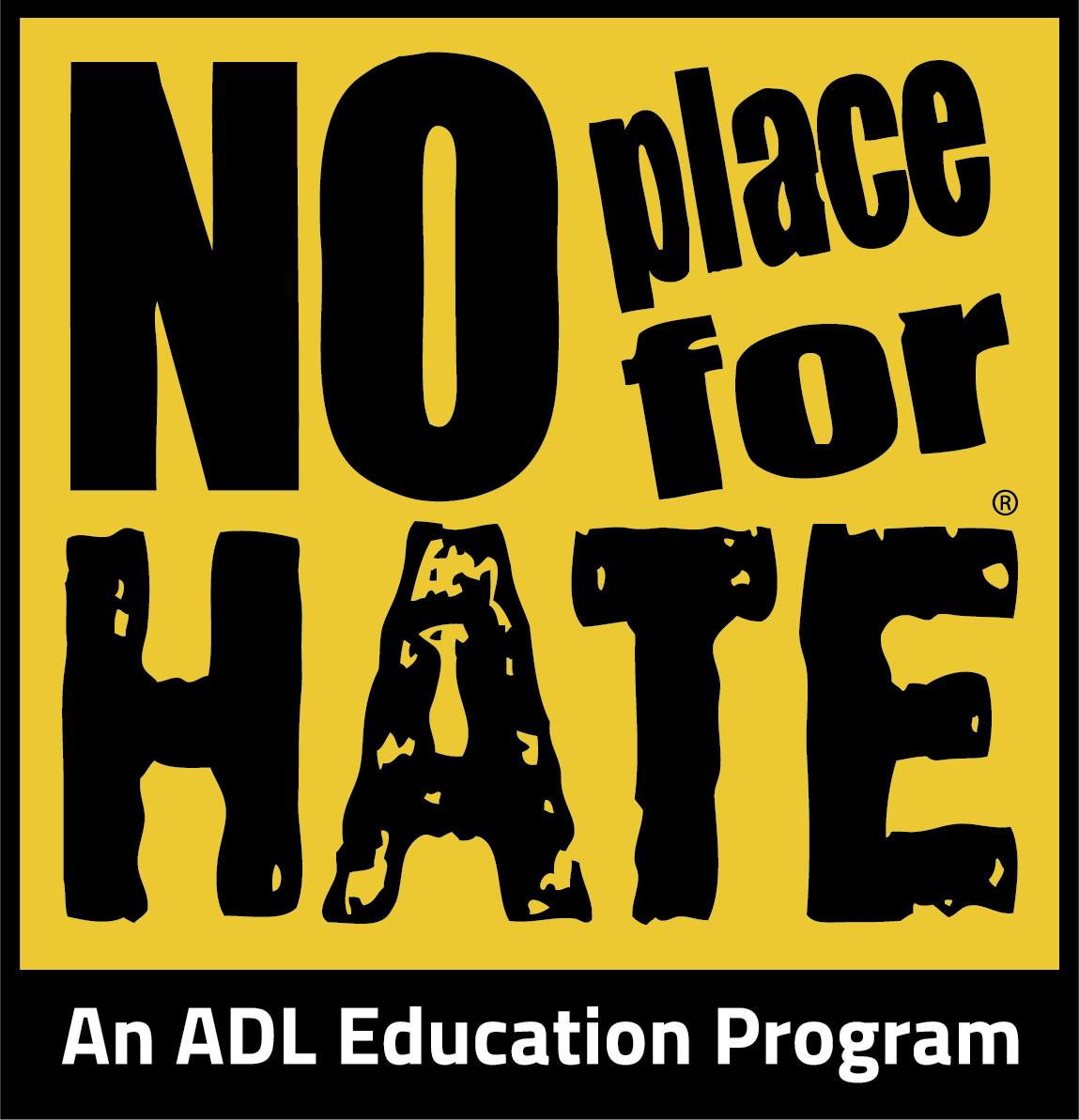 No Place For Hate logo Black letters on yellow background