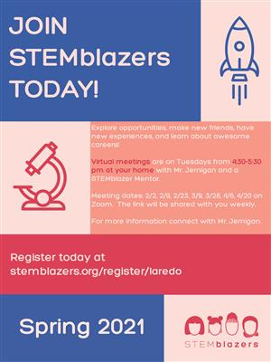 Poster about Stemblazers club including meeting dates