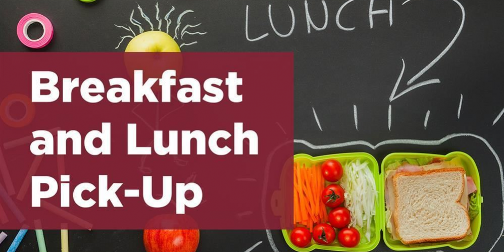 Breakfast and Lunch Pick-Up text on blackboard surrounded by pictures of fruit
