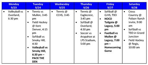 Athletic Events for the Week of September 23