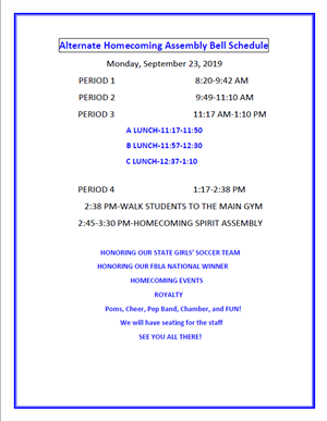 Homecoming Assembly Bell Schedule