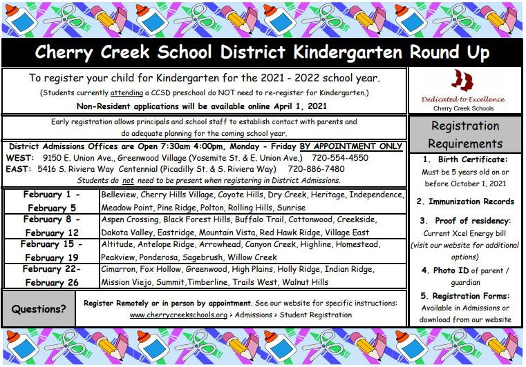 Kindergarten Round Up Information --> Click Here
